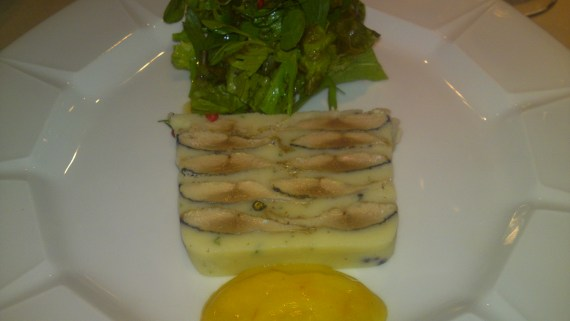 French Gastronomy: Pacific Saury and Potato Terrine with Aioli at Pissenlit