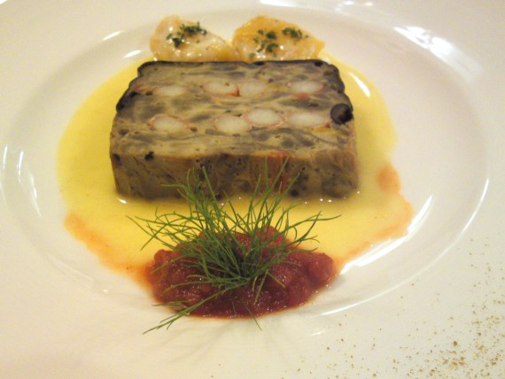 French Gastronomy: Eggplants and Crab Terrine at Pissenlit!