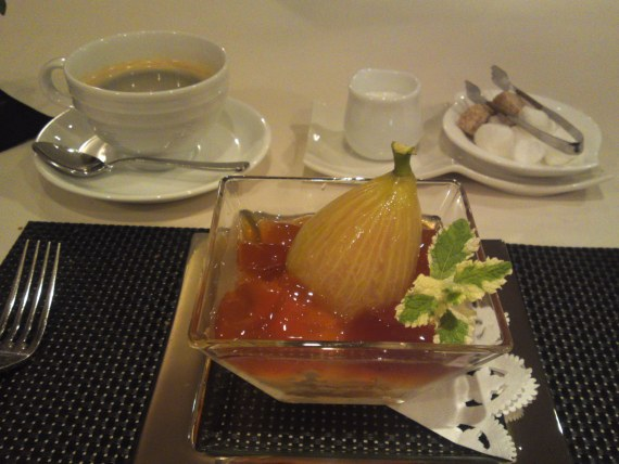 French Gastronomy: Shizuoka Dessert-Fig Compote and Dark Tea Jelly at Pissenlit