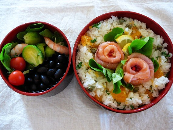 Today's Bento/Lunch Box (12/14): Irish Salmon & Shizuoka Dekopon Sushi Bento!