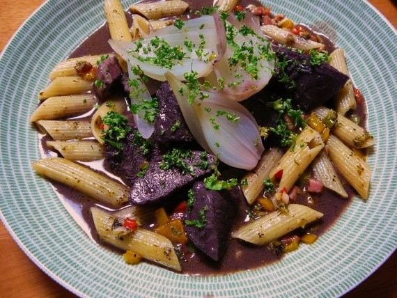 French Recipe: Okabe Venison Bourgogne Wine Stew and Penne!