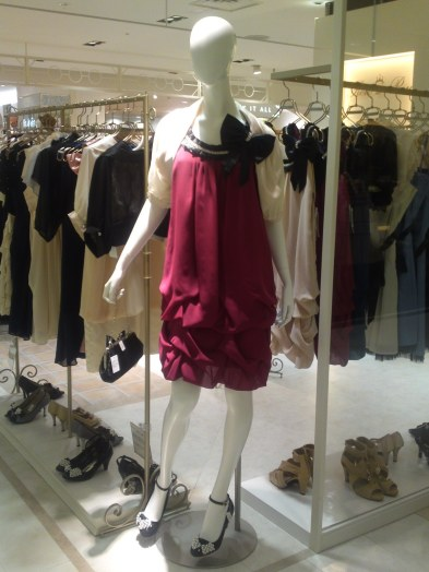 Japanese Ladies Fashion in Shizuoka 41: Burgundy Party Dress