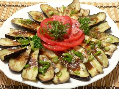 Vegan Japanese Recipe: Japanese-style Cold Eggplants & Tomato Antipasti