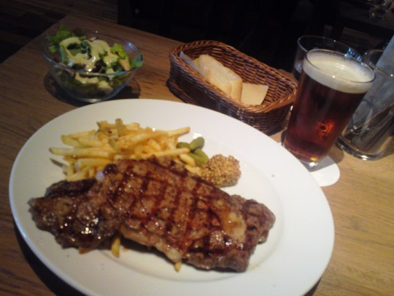 Rib Eye Steak Lunch at BLUE BOOKS cafe in Shizuoka City!